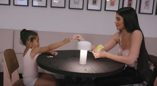 Kylie Jenner, 23, sharing snacks with her daughter, Stormi Webster, 3, in July 12, 2021 YouTube clip...