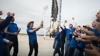 Blue Origin Jeff Bezos launch celebration promo image