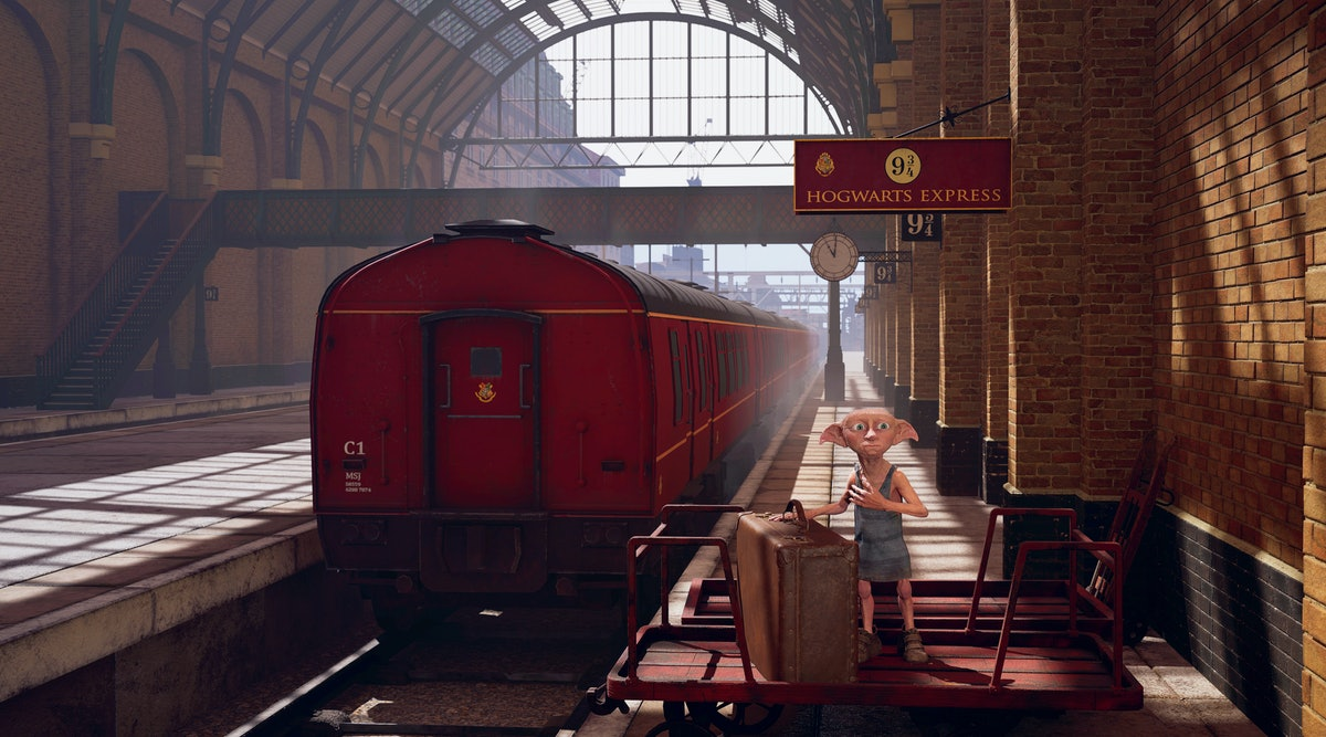 Dobby from the 'Harry Potter' movies stands at King's Cross Station in the virtual reality experienc...