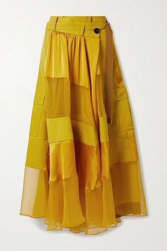 Patchwork Satin Wrap Skirt