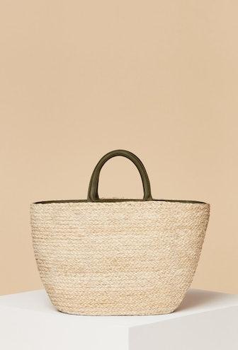 Top Handle Raffia Bag