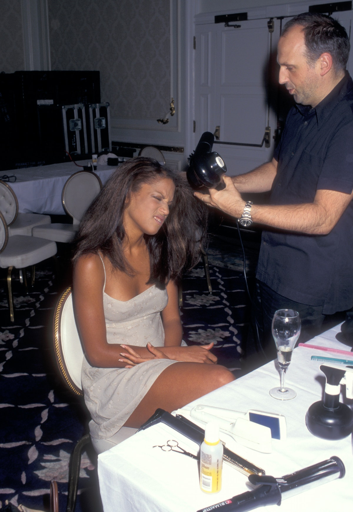 Veronica Webb backstage at the first Victoria's Secret Fashion Show,