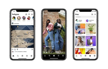 Instagram features including feed, Reels, and shopping