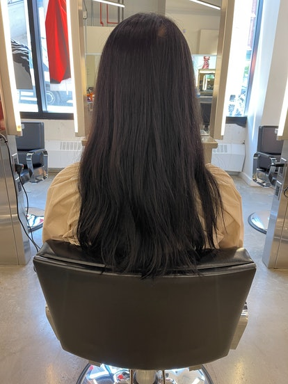 My long, straight black hair before the American Wave Perm