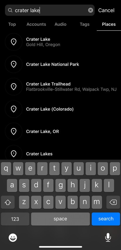 General Instagram location search of Crater Lake in Oregon results.