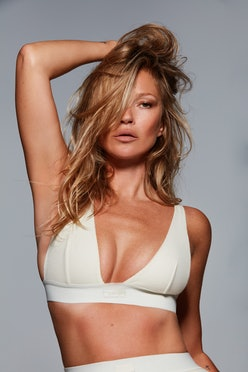 Kate Moss wears off-white cotton plunge bra from SKIMS Cotton collection in her recent SKIMS 2021 TV...