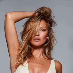Kate Moss wears off-white cotton plunge bra from SKIMS Cotton collection in her recent SKIMS 2021 TV ad campaign.