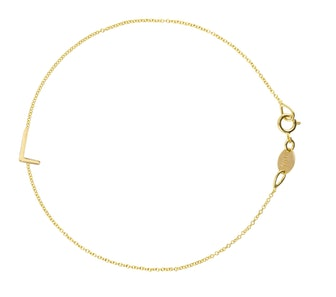 14K Gold 1 Letter & Charm Bracelet