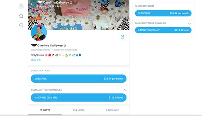 A screenshot of Caroline Calloway's OnlyFans page showing how to subscribe to OnlyFans.