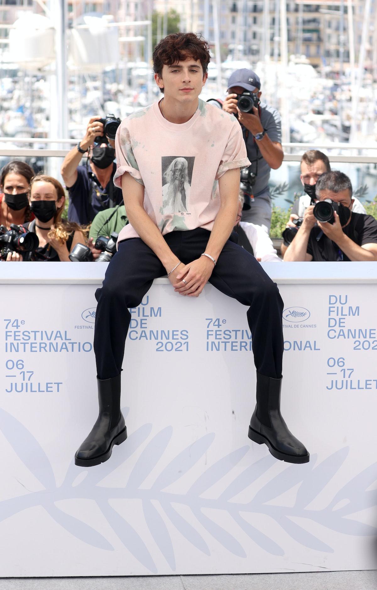Timothée Chalamet wearing a Richard Pryor t-shirt at the Cannes Film Festival