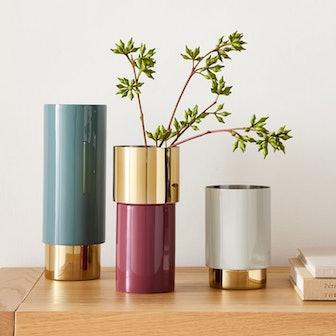 Brass & Enamel Tube Vases