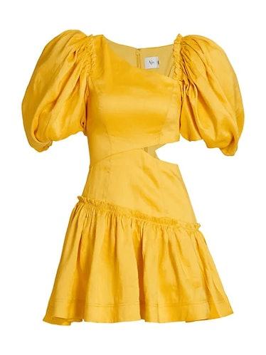 Chateau Puff-Sleeve Mini Dress