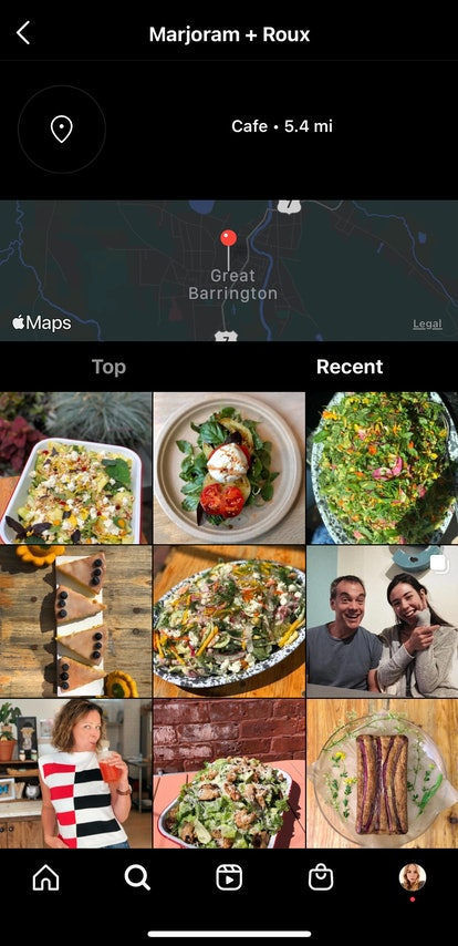 Search official locations on Instagram by tapping business info.
