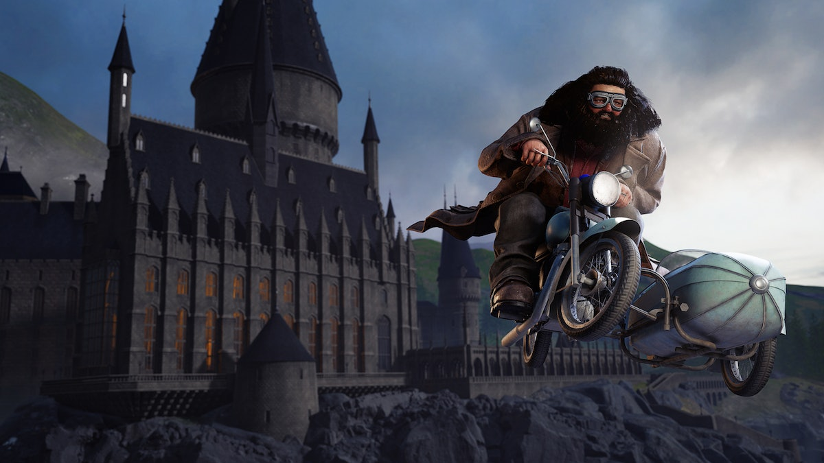 Hagrid from the 'Harry Potter' films flies away from Hogwarts in one of the virtual reality experiences at Harry Potter New York.