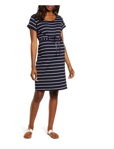 a black and white striped maternity t-shirt dress with drawstring waist