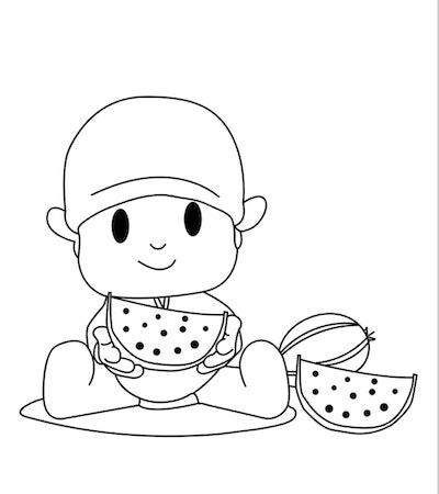 pocoyo watermelon coloring page