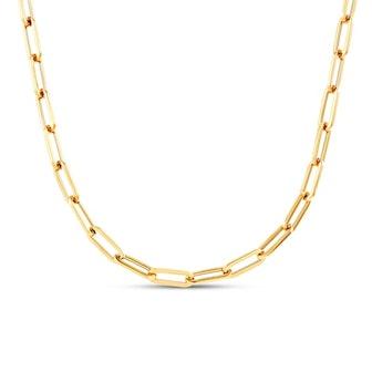 """Italia D'Oro Paper Clip Chain Necklace 14K Yellow Gold 18"""""""