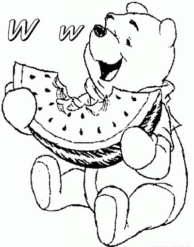 a winnie the pooh watermelon coloring page