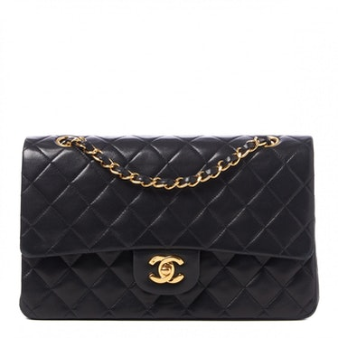 Lambskin Quilted Medium Double Flap Black