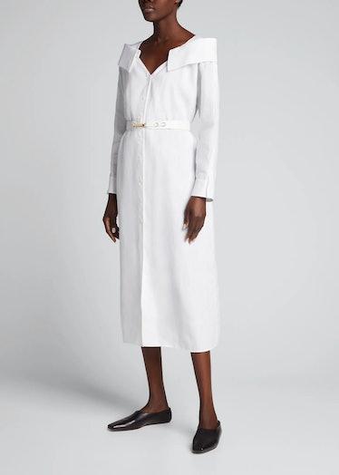 Mousseline Linen Midi Dress With Leather Belt