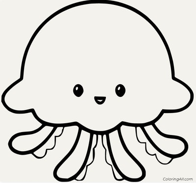 Black and white cartoon coloring page; jellyfish, basic design with smiling face