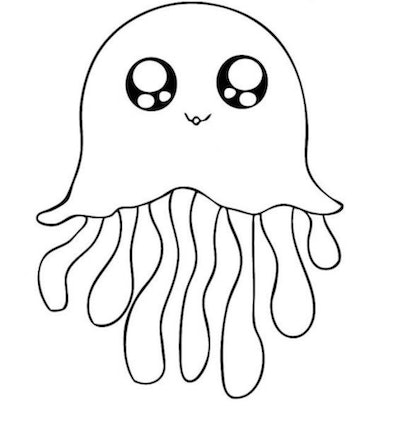 Black and white cartoon coloring page; jellyfish with big doe-eyes and long dangling legs