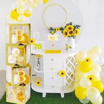 gold transparent balloon boxes