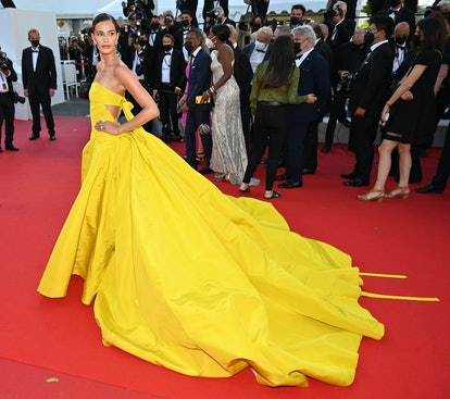 """US model Noel Capri Berry arrives for the screening of the film """"Aline, The Voice Of Love"""" at the at the 74th annual Cannes Film Festival in Cannes, France on July 13, 2021"""