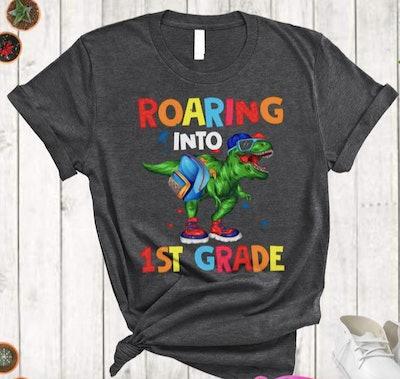 Roaring into first grade t-shirt