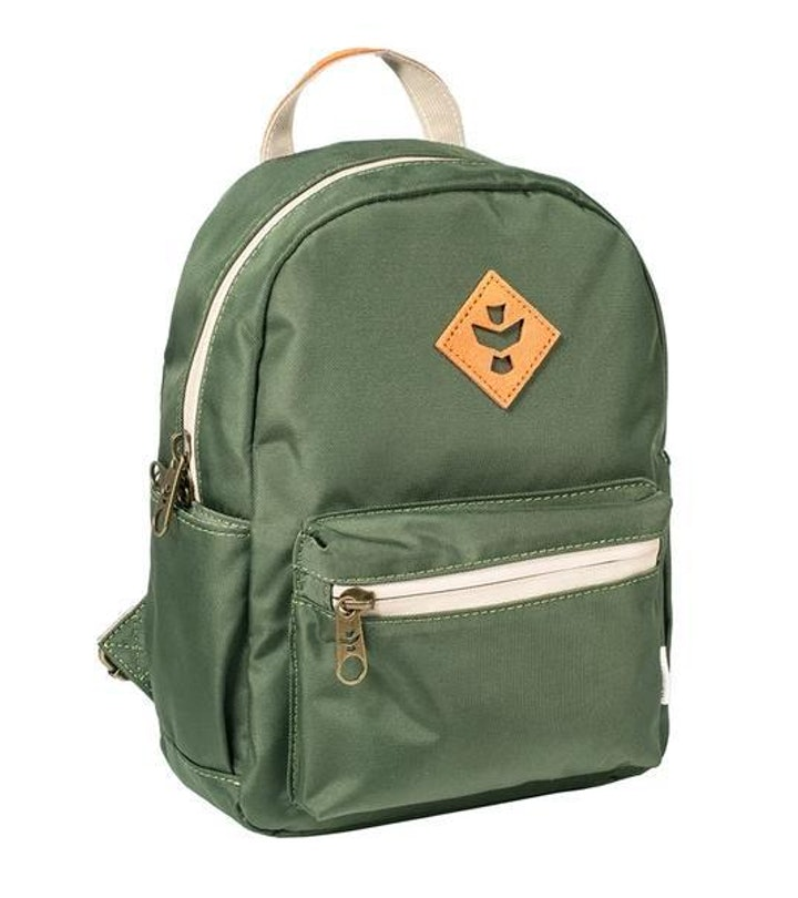 smell proof green backpack from revelry