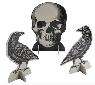 Vintage skull and raven tabletop decorations