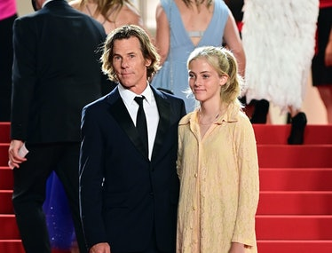 Daniel Moder and daugther Hazel on red carpet.