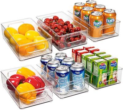 Ecowaare Plastic Refrigerator Organizer Bins (6-Pack)