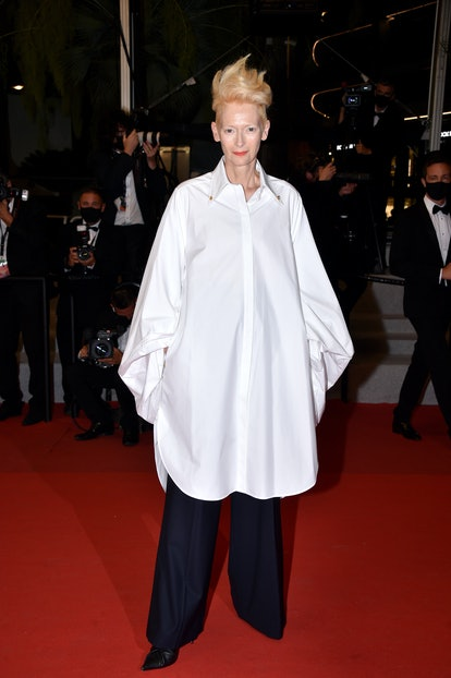 """Tilda Swinton attends the """"Les Olympiades (Paris 13th District)"""" screening during the 74th annual Cannes Film Festival on July 14, 2021 in Cannes, France."""
