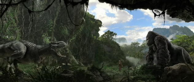King Kong takes place on an island inhabited by dinosaurs.