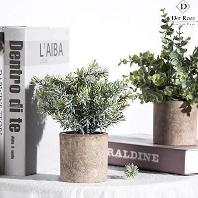 Der Rose Mini Potted Fake Plants (3-Pack)