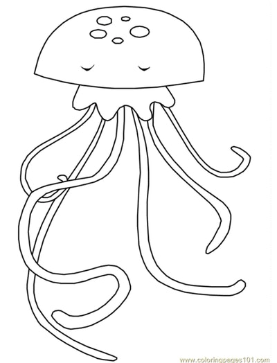 Jellyfish coloring pages: cartoon jellyfish with sleeping eyes, long legs, and dots.