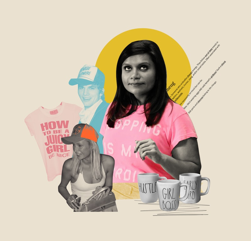 A collage of cheugy items, including Rae Dunn mugs, Mindy Kaling in a shopping tshirt, and trucker hats. Cheugy's meaning for millennials is being reclaimed.