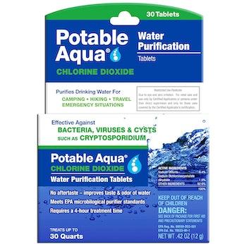 Potable Aqua Chlorine Dioxide Water Purification Tablets (30 Count)