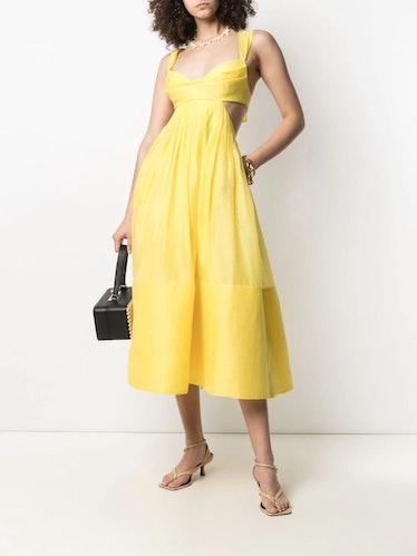 Bow-Detail Flared Midi Dress