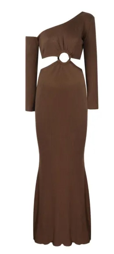 Off-Shoulder Dress With Cutout In Brown