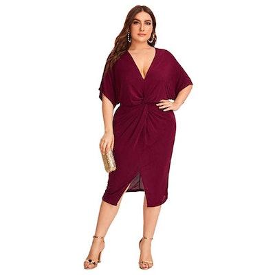Floerns Twist Front Midi Dress