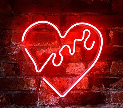 """Isaac Jacobs LED Neon Red """"Love"""" Heart Wall Sign"""