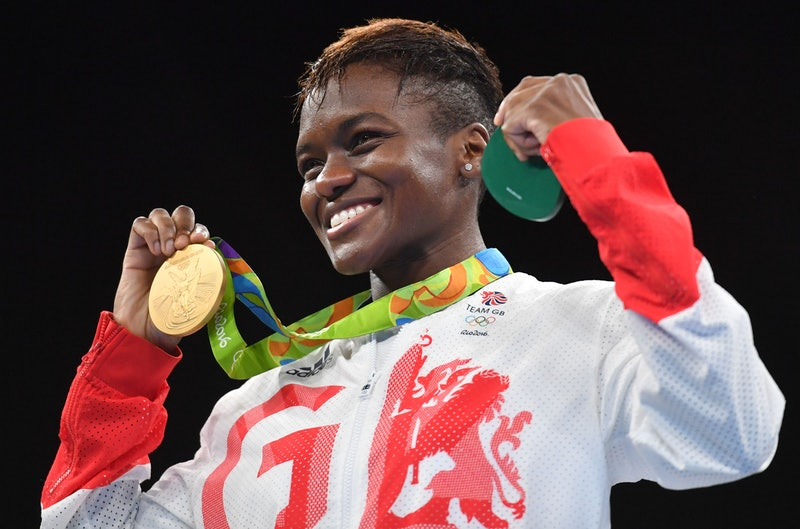 Great Britain's Nicola Adams poses on the podium with a gold medal during the Rio 2016 Olympic Games...