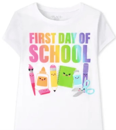 """T-shirt in pastels that says """"First Day of School"""""""