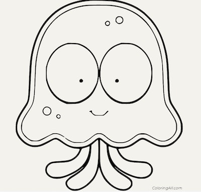 Jellyfish coloring pages: Cartoon jellyfish with big eyes and smile.