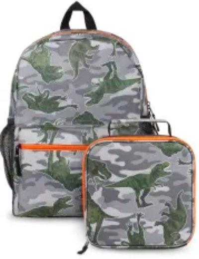 Boys Camo Dino Backpack 2-Piece Set