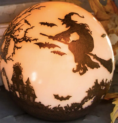 Witch crystal ball decoration
