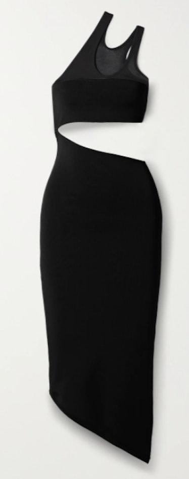 One-Shoulder Cutout Stretch-Knit Midi Dress
