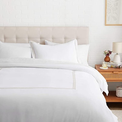 Embroidered Hotel Stitch Duvet Cover Set